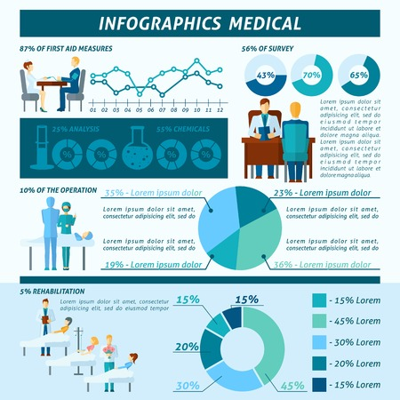 medical report: Doctor in hospital and clinic infographic set with medical symbols and charts vector illustration Illustration