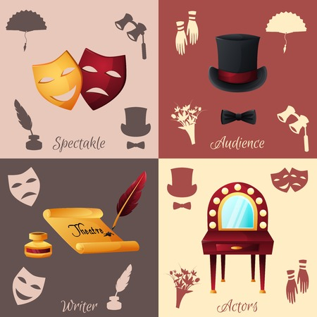 tragedy mask: Theater design concept set with spectacle audience writer and actors icons isolated vector illustration