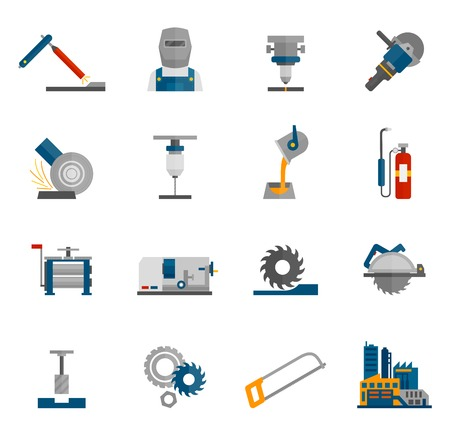 steel industry: Metal-working labor mechanical industry icon flat set isolated vector illustration Illustration