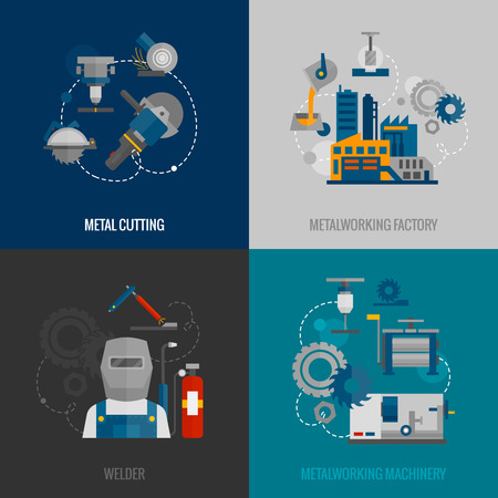 metal cutting: Metalworking factory and cutting machinery 4 flat icons composition with welder equipment pictograms abstract isolated vector illustration