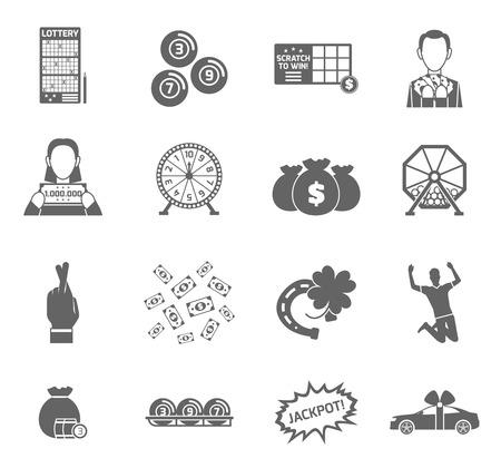 loteria: Lotería y fortuna ganancias juegos icono negro aislado ilustración vectorial conjunto Vectores