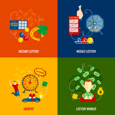 loteria: Gana al Instante tarjetas rasca y gana loter�a ganador del premio semanal alegr�a 4 iconos planos composici�n abstracta ilustraci�n vectorial aislado
