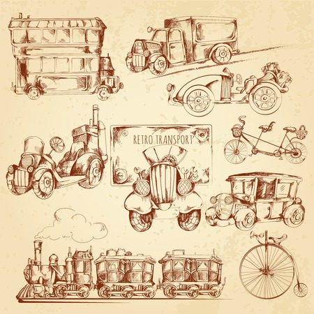 Vintage transport steampunk vehicles sketch decorative icons set isolated vector illustration
