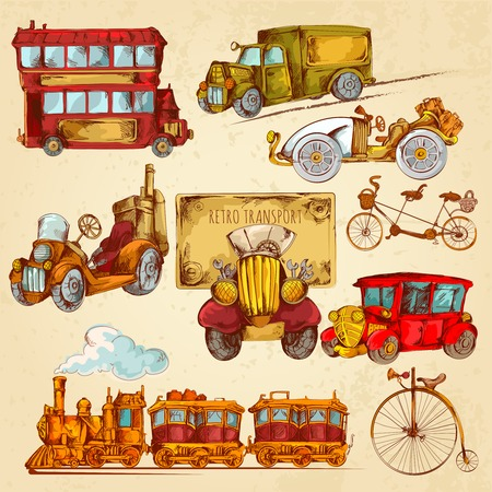 steampunk: Vintage transport steampunk historical vehicle sketch colored decorative icons set isolated vector illustration