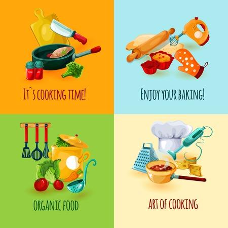�cooking: Cocinar concepto de dise�o conjunto con iconos para hornear alimentos aislados ilustraci�n vectorial Vectores