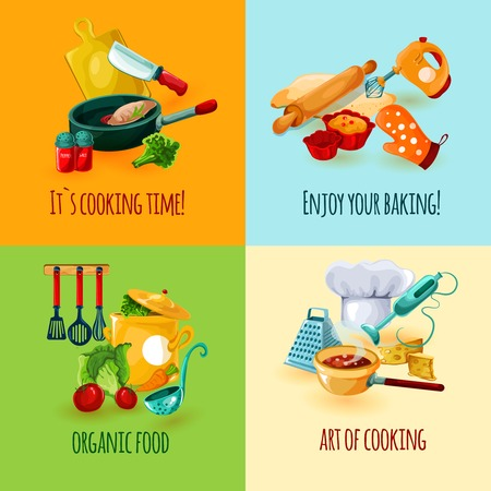 kitchen appliances: Cooking design concept set with food baking icons isolated vector illustration