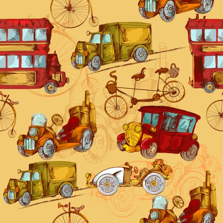 wagon: Vintage transport steampunk cars bikes transport colored seamless pattern vector illustration Illustration