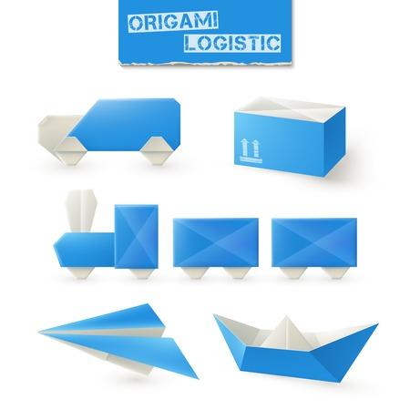 Cartoon Paper Origami Train Locomotive Symbol And Passenger