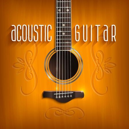 guitarra acustica: Fondo de la música con la guitarra acústica de color marrón con la ilustración del vector del ornamento Vectores
