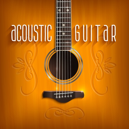 lead guitar: Music background with brown acoustic guitar with ornament vector illustration