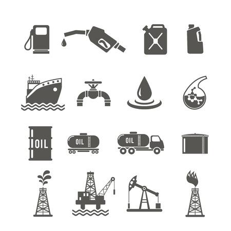 Aardolie-industrie zwart pictogram set met brandstof tanker vervoer terminal boren goed geïsoleerd vector illustratie