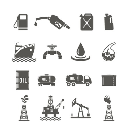 Petroleum industry black icon set with fuel tanker transportation terminal drilling well isolated vector illustration Иллюстрация