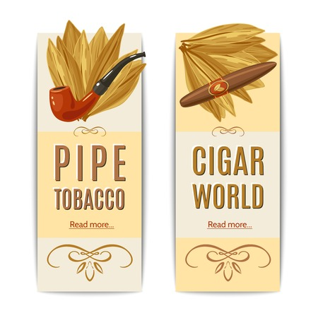 tobacco product: Tobacco vertical banners set with pipe and cigar elements isolated vector illustration Illustration