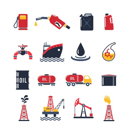 Petroleum industry flat icon set isolated with drilling process gasoline pump oil can isolated vector illustration Vettoriali
