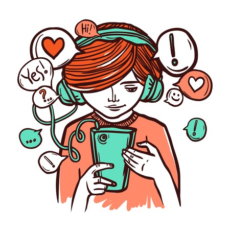 headphones woman: Young girl in headphones chatting with smartphone hand drawn vector illustration Illustration