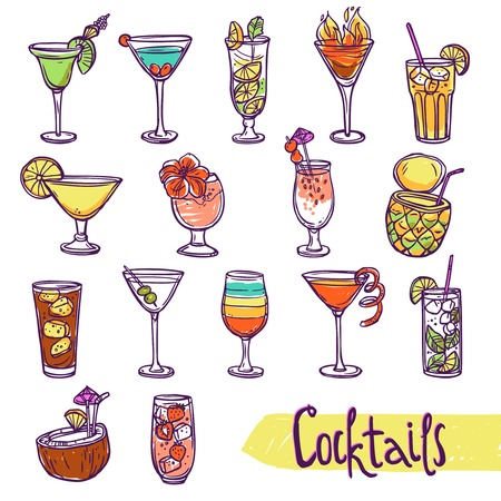 refreshment: Cocktail glasses cold summer party refreshment sketch set isolated vector illustration