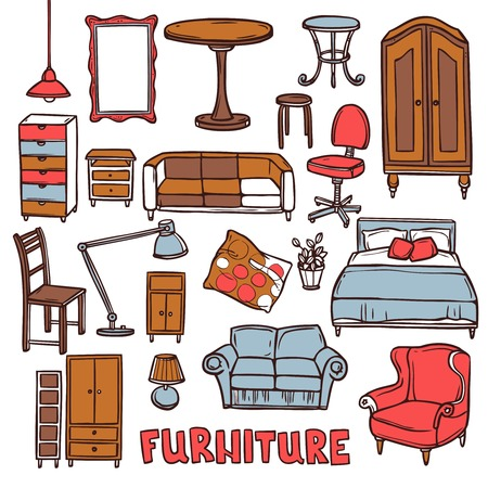 furniture shop: Home furniture decorative icons set with sketch sofa armchair table isolated vector illustration