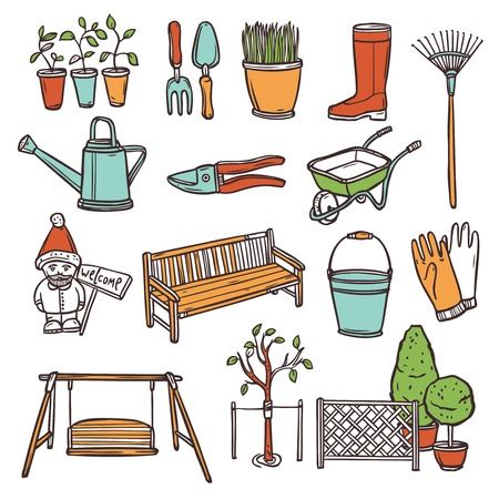 weeder: Gardening tools decorative icons set with hand drawn farming equipment isolated vector illustration
