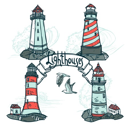 lighthouse at night: Lighthouse sketch set with seagulls and sea waves on background vector illustration