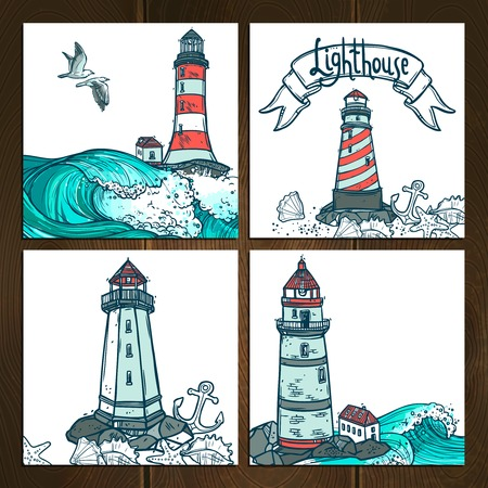 lighthouse at night: Lighthouse sketch cards set with waves and seagulls isolated on wooden background vector illustration