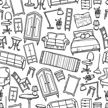 home group: Furniture hand drawn seamless pattern with modern and classic home accessories vector illustration