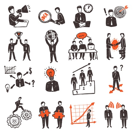 workgroup: Meeting icon set with hand drawn business people characters set isolated vector illustration