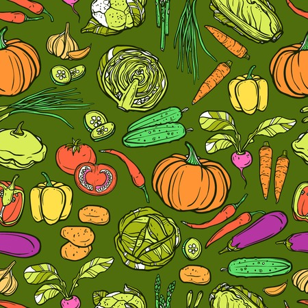 chives: Vegetables seamless pattern with sketch cauliflower asparagus cabbage garlic vector illustration