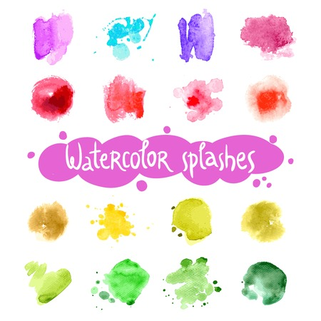 ink drops: Watercolor splashes abstract colorful ink drops set isolated vector illustration
