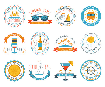 happy summer: Happy summer time holiday travel sunny mood tropical paradise beach labels stickers set abstract isolated vector illustration