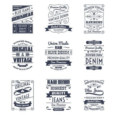 古典的なデニム ジーンズ タイポグラフィ ロゴ エンブレム限定版グラフィック デザイン アイコン コレクション黒抽象的な分離ベクトル イラスト  イラスト・ベクター素材