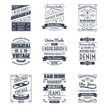 mezclilla: Clásica logo jeans tipografía emblemas edición limitada colección de iconos de diseño negro resumen ilustración vectorial aislado Vectores