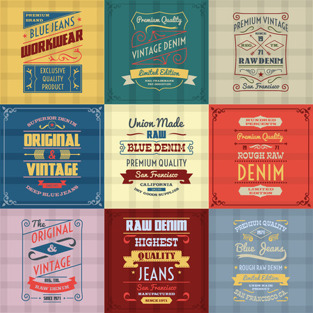 Original authentic denim jeans genuine typography labels emblems design icons collection colored background abstract isolated vector illustration
