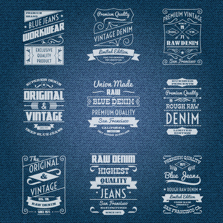denim: Denim jeans white typography labels set isolated vector illustration