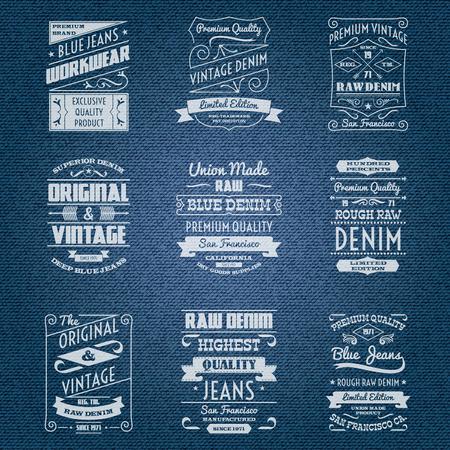 mezclilla: Los jeans etiquetas tipografía blanca conjunto aislado ilustración vectorial
