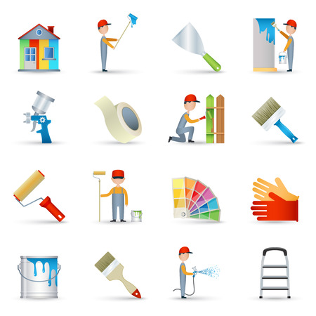 masking: House renovation wall painting with long handle roller and masking tape icons collection abstract isolated vector illustration Illustration