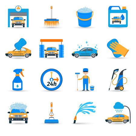 autolavaggio: Impianti automatici autolavaggio self service innovativa apparecchiatura unità di schiumatura pennello icone piane set abstract illustrazione vettoriale isolato