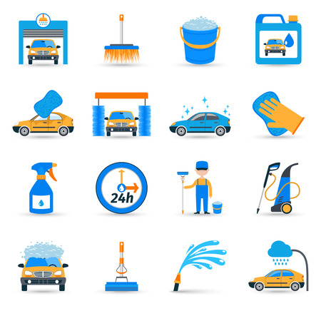 carwash: Instalaciones automáticas de lavado de carros de autoservicio innovador iconos planos equipo unidad de cepillo espumante set vector abstracta ilustración aislada Vectores
