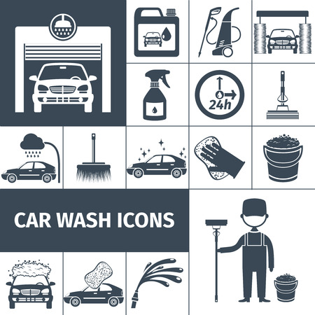 wash: Touchless car wash tunnel with automatic high pressure rinse system black icons set abstract vector isolated illustration