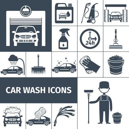 carwash: Touchless t�nel de lavado de coches con sistema de lavado a alta presi�n autom�tica iconos negros fijaron aislado ilustraci�n vectorial abstracto