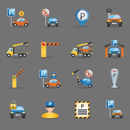 Parkeerplaats tekenen en automatische toegangscontrole hekken en slagbomen pictogrammen collectie plat abstract geïsoleerde vector illustratie