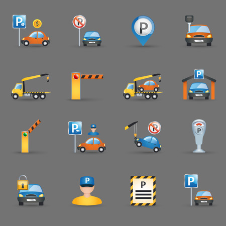 Parking lot signs and automatic access control gates and barriers pictograms collection flat abstract isolated vector illustration Vectores