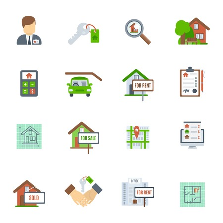 commercial sign: Real estate searching choosing and valuation flat icon set isolated vector illustration