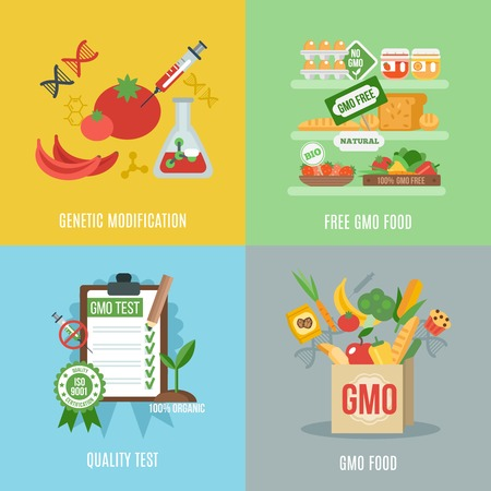science icons: Gmo design concept set with food genetic modification flat icons isolated vector illustration