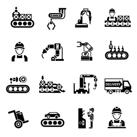 Production line product manufacturing and quality control icons black set isolated vector illustration Vectores