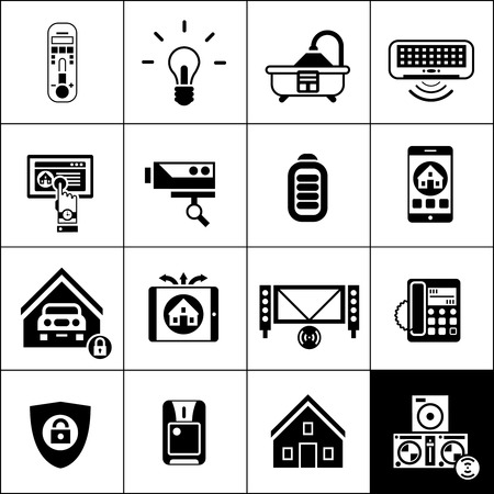 control system: Smart house computer electronic home control icons black set isolated vector illustration