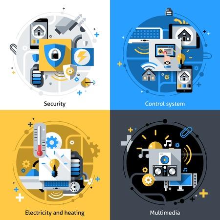 seguridad social: Casa de dise�o de concepto de Smart conjunto con calefacci�n el�ctrica de seguridad y sistema de control multimedia iconos planos aislados ilustraci�n vectorial Vectores