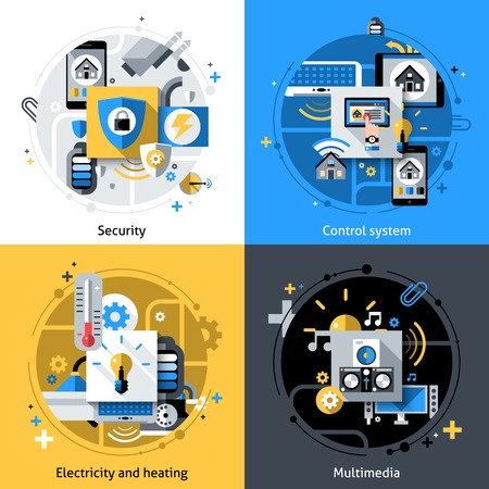 Smart house design concept set with security electricity heating and multimedia control system flat icons isolated vector illustration Vector