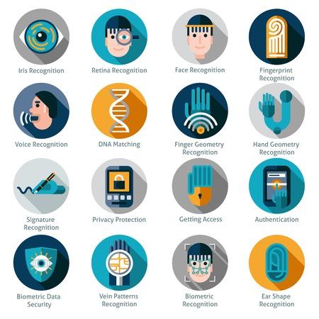 Biometrische authenticatie pictogrammen die met geïsoleerd iris netvlies gezicht en vingerafdrukherkenning symbolen vector illustratie Stock Illustratie