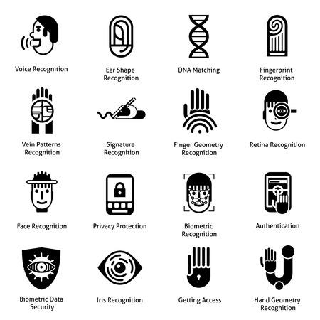 reconocimiento: La autenticaci�n biom�trica iconos conjunto negro con los o�dos la voz s�mbolos de reconocimiento de huellas dactilares forma aisladas ilustraci�n vectorial