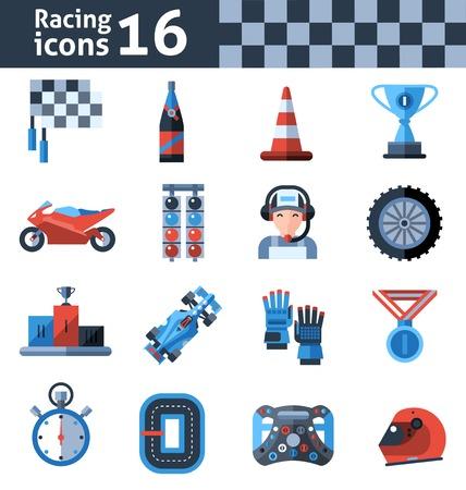 bandera carreras: Competir con iconos conjunto aislado con medalla de ganador del trofeo casco de motocicleta ilustraci�n vectorial Vectores